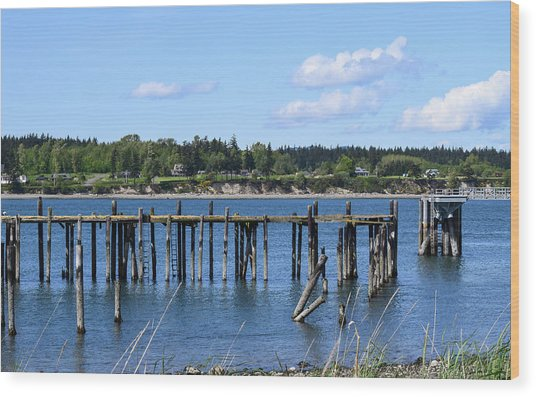 Guemes Island And Old Pier Wood Print