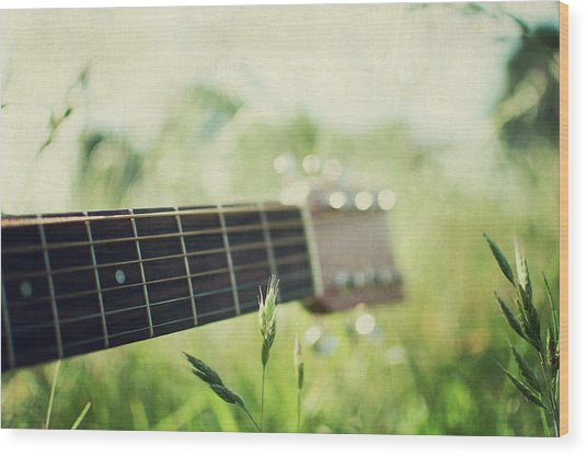 Guitar In Country Meadow Wood Print by Images By Victoria J Baxter