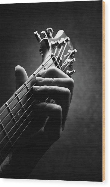 Guitarist Hand Close-up Wood Print
