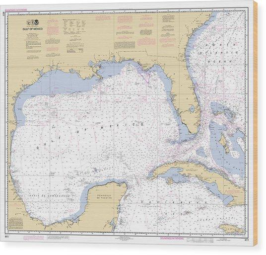 Gulf Of Mexico, Noaa Chart 411 Wood Print