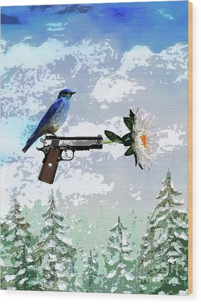 Bluebird Of Happiness- Flower In A Gun Wood Print