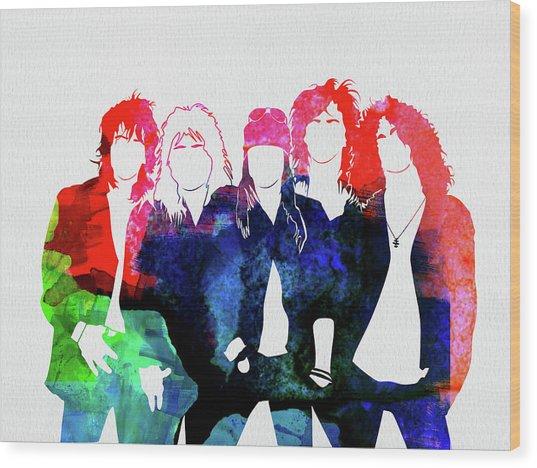 Guns N' Roses Watercolor Wood Print