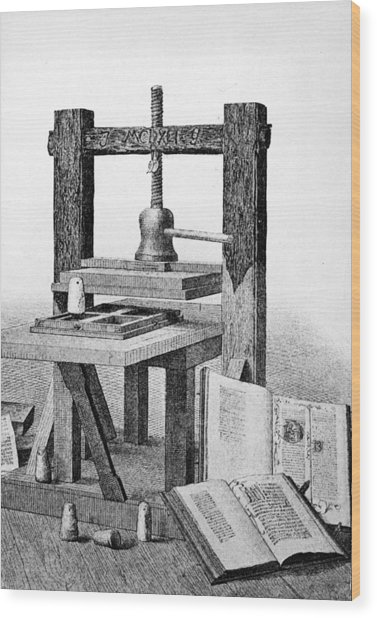 Gutenberg Printing Press Wood Print by Authenticated News