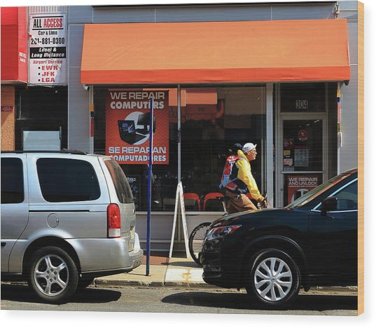 Hackensack, Nj - Orange Storefront Wood Print