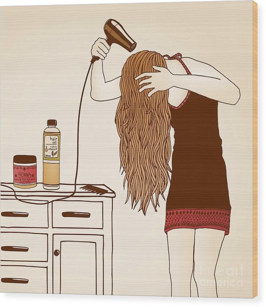 Hair Care Illustration No. 23 Colored Wood Print by Franzi