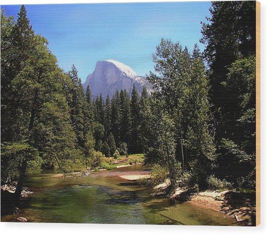 Half Dome From Ahwanee Bridge - Yosemite Wood Print