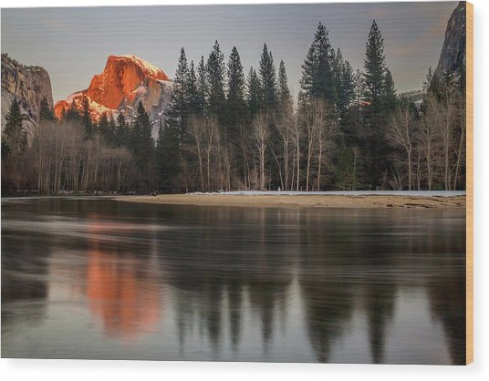 Half Dome Sunset In Winter Wood Print