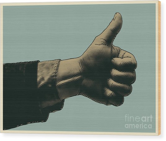 Halftone Thumbs Up Symbol. Engraved Wood Print