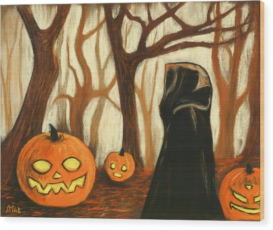 Wood Print featuring the painting Halloween Forest by Anastasiya Malakhova