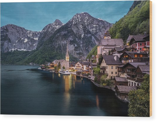 Hallstatt Village At Dusk, Austria Wood Print