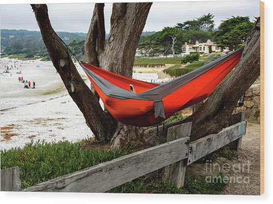 Hammock By The Sea Wood Print
