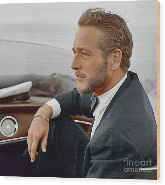 Hand Colored Picture Of Paul Newman Wood Print