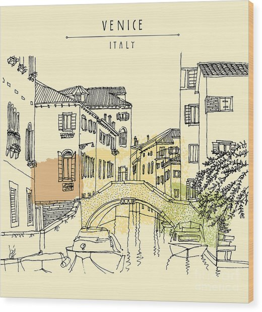 Hand Drawing Of Venice, Italy, With A Wood Print