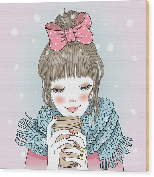 Hand Drawn Beautiful Cute Girl With Wood Print