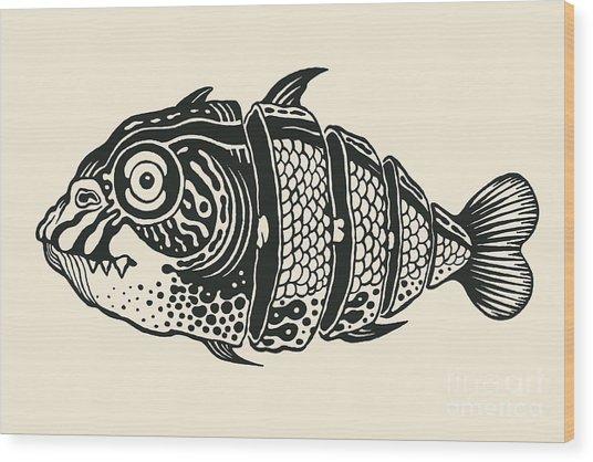 Hand Drawn Fish Cut Into Slices, Design Wood Print