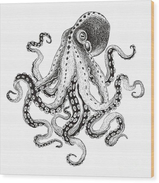 Hand-drawn Illustration Octopus, Vector Wood Print