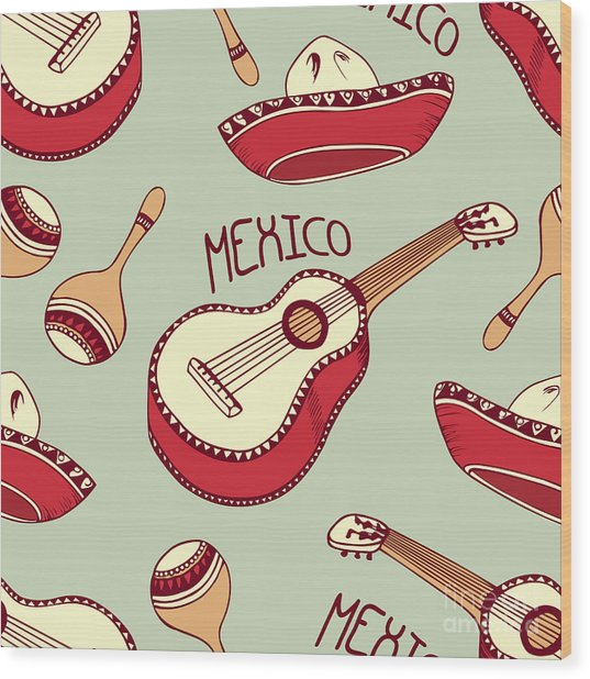 Hand Drawn Mexican Seamless Pattern Wood Print