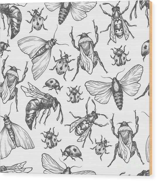 Hand Drawn Vector Pattern With Insects Wood Print