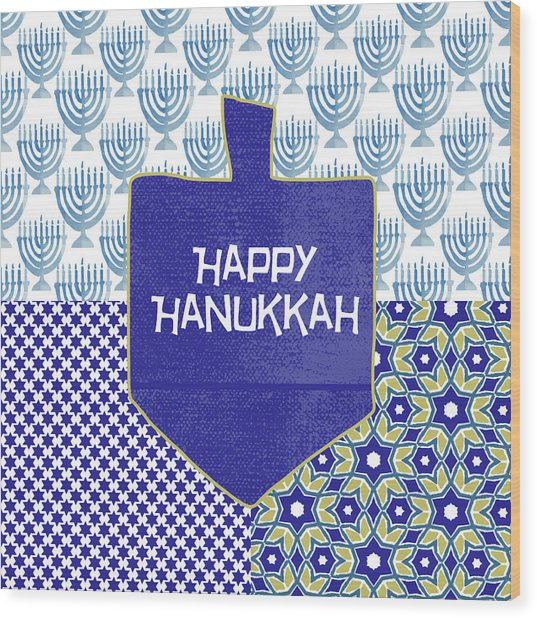 Happy Hanukkah Dreidel 1- Art By Linda Woods Wood Print