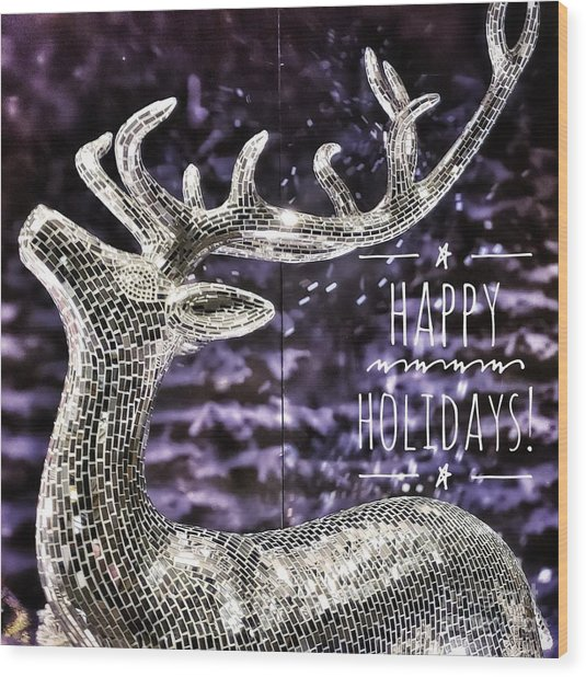 Happy Holiday Sparkle Wood Print