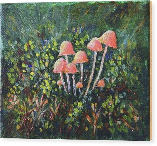 Happy Mushrooms Wood Print