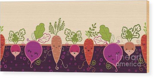 Happy Root Vegetables Horizontal Wood Print by Oksancia