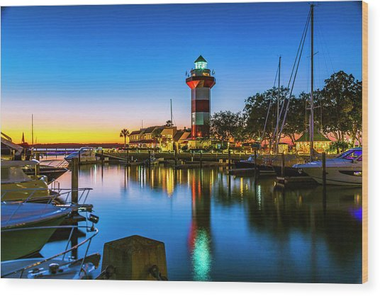 Harbor Town Lighthouse - Blue Hour Wood Print