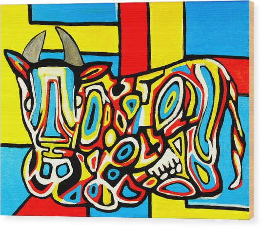 Haring's Cow Wood Print