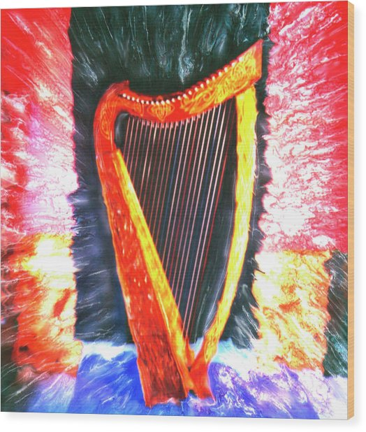 Harp Wood Print by Claire Rydell