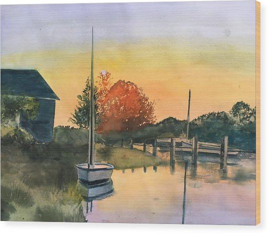 Harthaven Harbor, Mv Wood Print