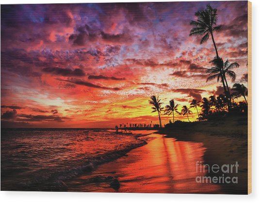 Wood Print featuring the photograph Hawaiian Sunset by Miles Whittingham