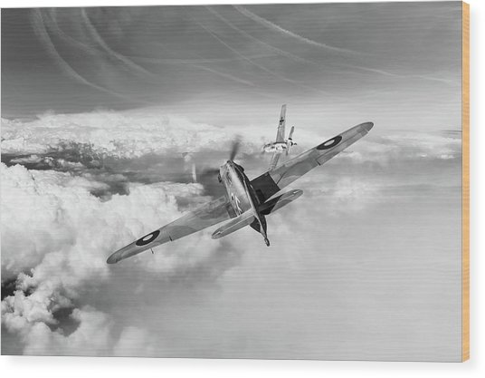 Wood Print featuring the photograph Hawker Hurricane Deflection Shot Bw Version by Gary Eason
