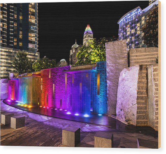 Hdr Rainbow Fountain Wood Print by Christine Buckley