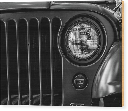 Wood Print featuring the photograph Headlight, Jeep by Edward Lee