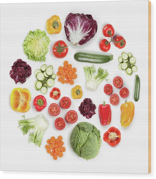 Healthy Fruits And Vegetables In Round Wood Print by Maxiphoto
