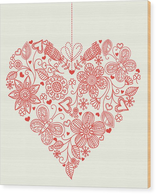 Heart Background Wood Print by Pworld