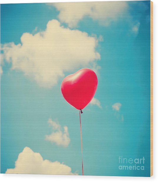 Heart Balloon Wood Print by Andrekart Photography