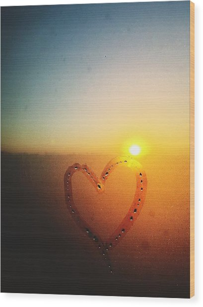 Heart Drawn On Condensed Window Wood Print by Sungil Lee / Eyeem