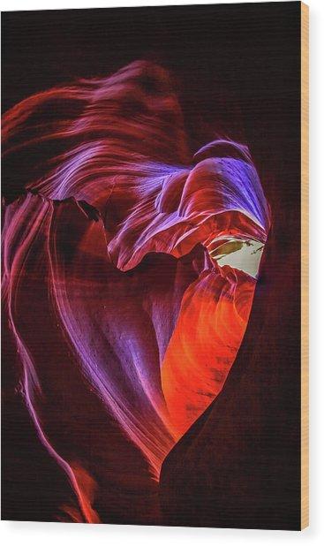 Heart Of Antelope Canyon Wood Print