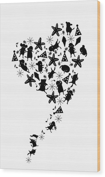 Heart Shaped Dogs And Stars In Black & Wood Print by Meg Takamura