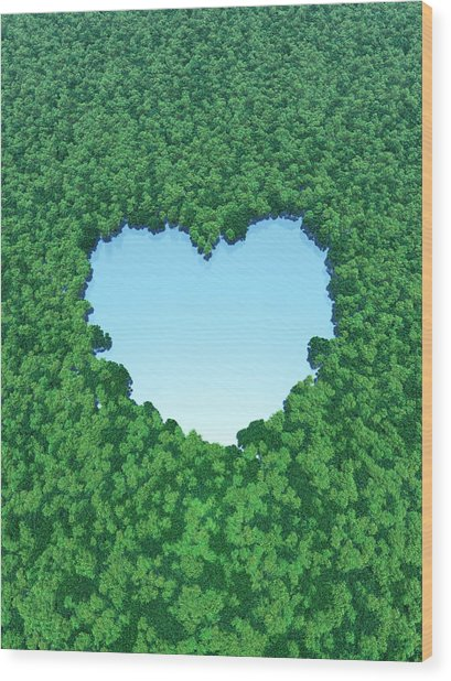 Heart Shaped Lake In Forest Wood Print by I-works/amanaimagesrf