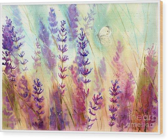 Heathers In Haze Wood Print
