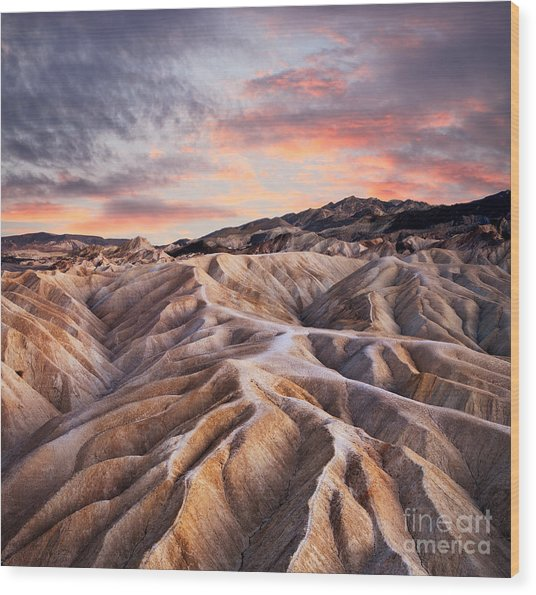 Heavily Eroded Ridges At Zabriskie Wood Print