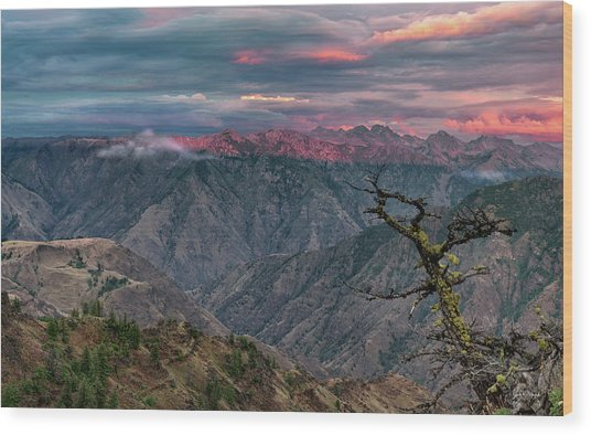 Hells Canyon Sunset 2 Wood Print by Leland D Howard