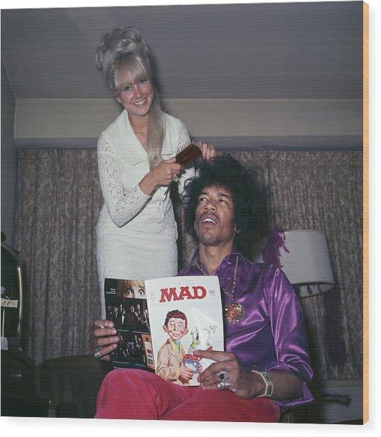 Hendrix Hair Wood Print by Rolls Press/popperfoto