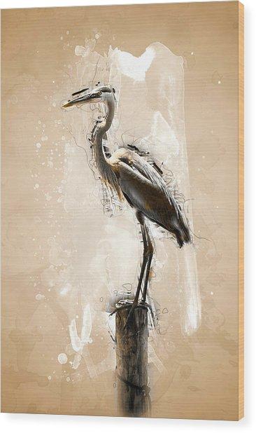 Heron On Post Wood Print