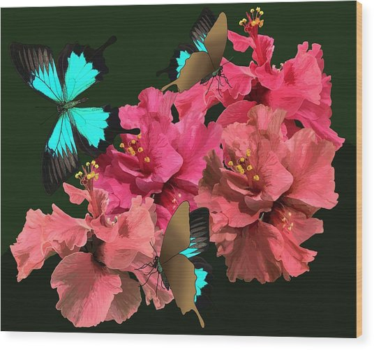 Hibiscus Butterfly Joy Wood Print