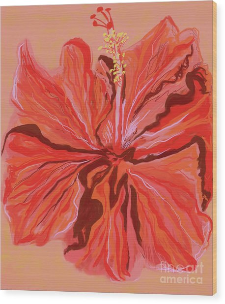 Hibiscus Color Lines Wood Print