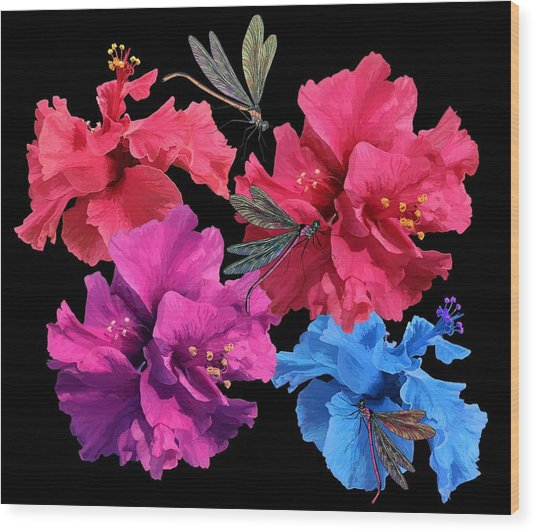 Hibiscus Dragonfly Wood Print