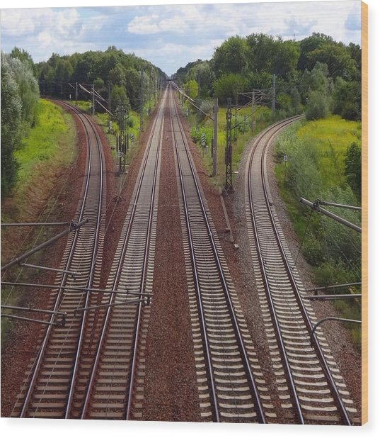 High Angle View Of Empty Railroad Tracks Wood Print by Thomas Albrecht / Eyeem